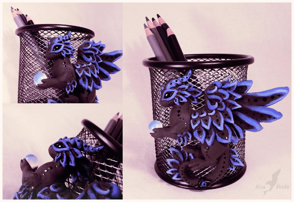 Black dragon pencil holder by AlviaAlcedo