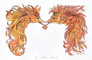 Autumnal dragons - ties of love by AlviaAlcedo