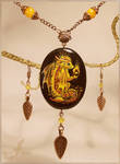 Fire baby dragon - stone painting necklace