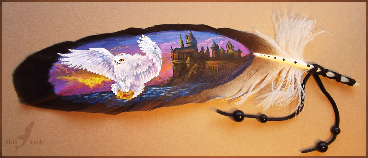 Feather painting - A letter from Hogwarts by AlviaAlcedo