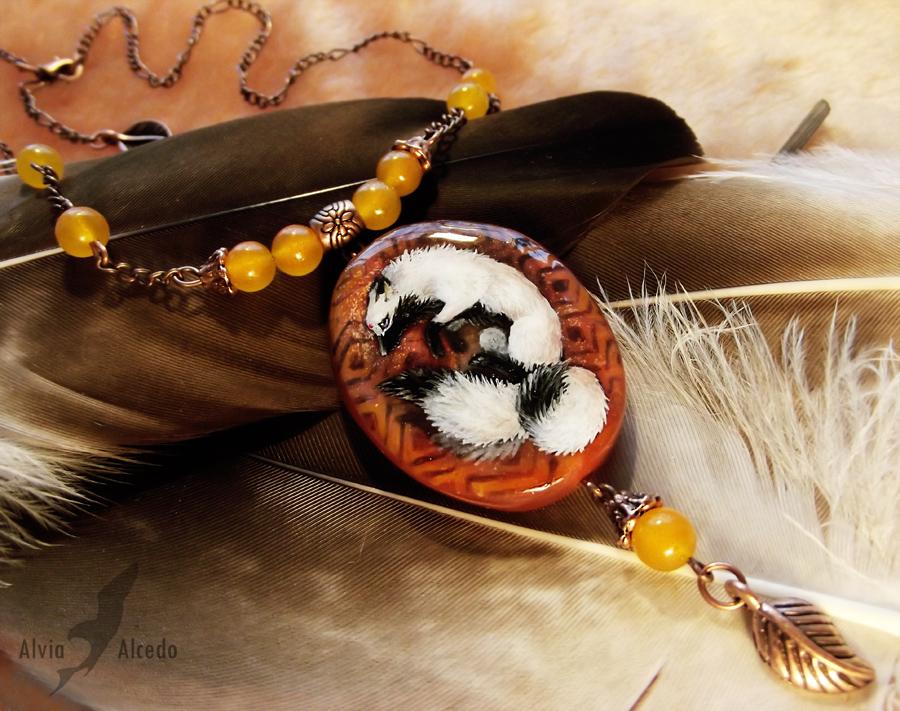 Three-tailed fox - stone painting by AlviaAlcedo