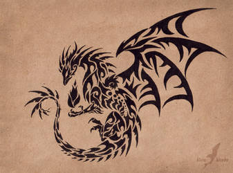 Dark flame master - dragon - tattoo design by AlviaAlcedo