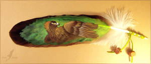 Eagle on eagle feather - feather painting