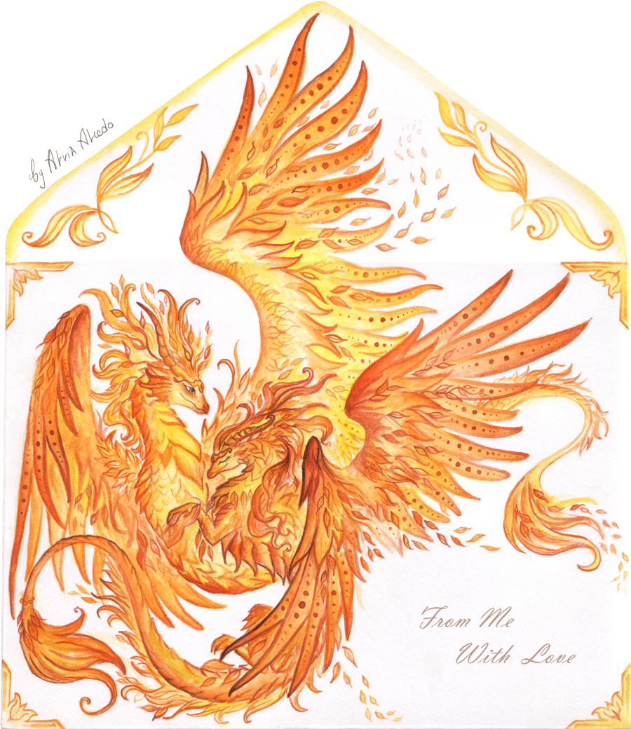 Autumnal dragons dance - envelope design by AlviaAlcedo
