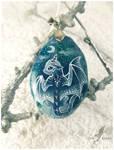 Snowy lunar baby dragon - stone painting
