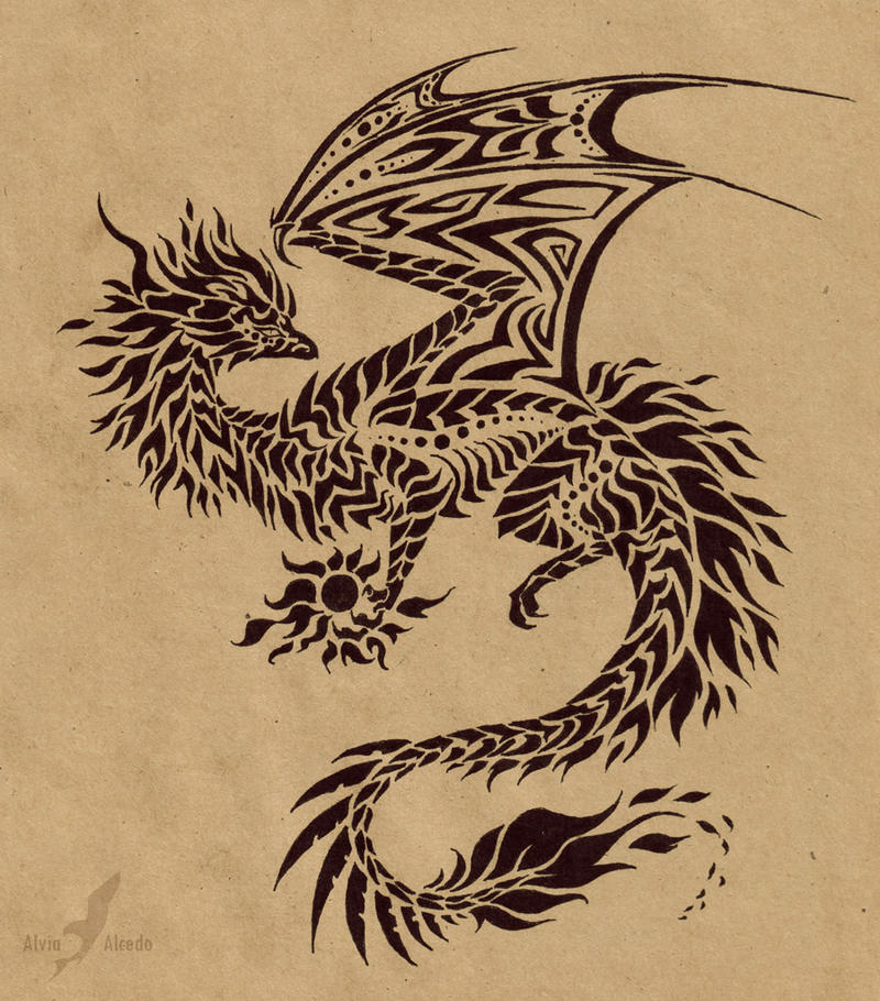 Fire dragon flame holder - tattoo design by AlviaAlcedo