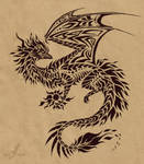 Fire dragon flame holder - tattoo design