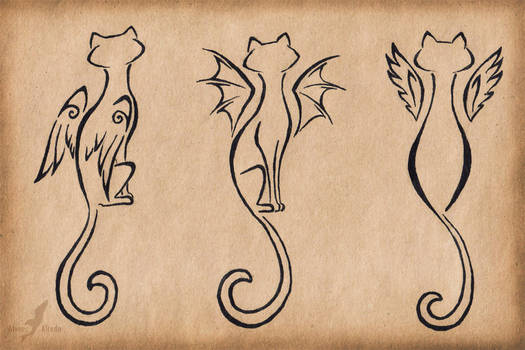 Winged cats trio - tattoo design