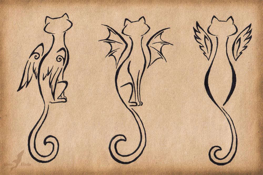 Line Art Tattoo Designs : Winged cats trio tattoo design by alviaalcedo on deviantart