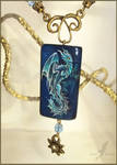 Deep ocean dragon - stone painting necklace