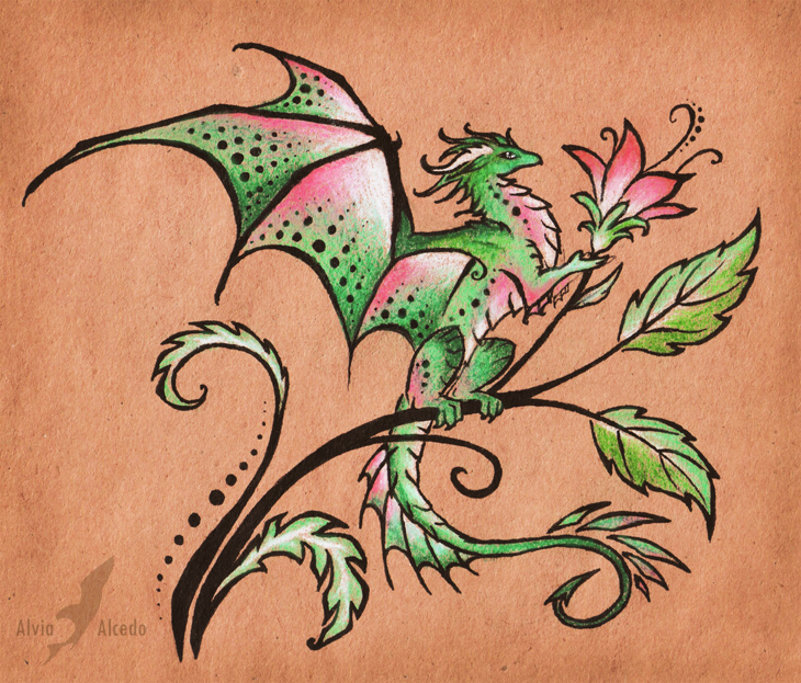 Flower dragon - tattoo design by AlviaAlcedo