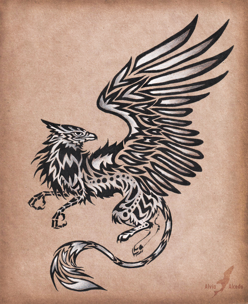 silver gryphon tattoo design by alviaalcedo on deviantart. Black Bedroom Furniture Sets. Home Design Ideas