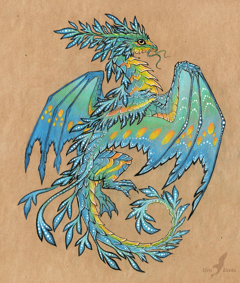 tropical blue sea dragon tattoo design by alviaalcedo on