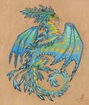 Tropical blue sea dragon - tattoo design