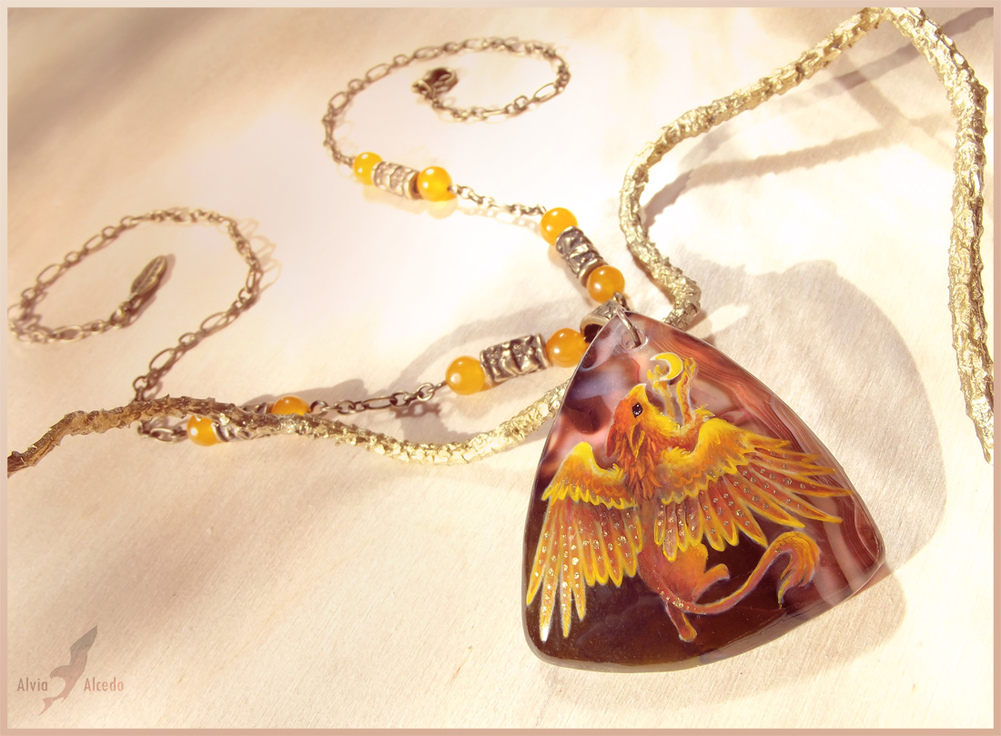 Golden griffin - stone painting necklace by AlviaAlcedo