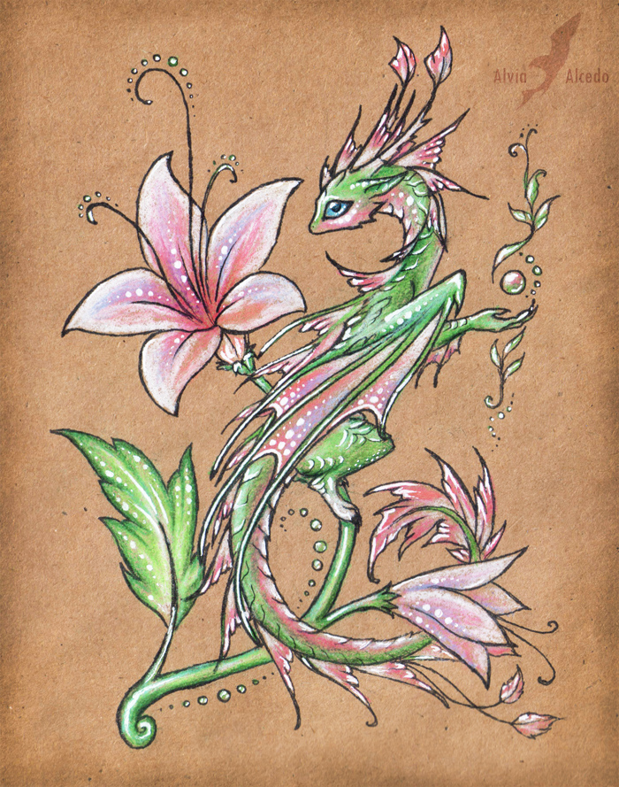 Wild flower dragon by alviaalcedo on deviantart for Dragon tattoo drawings