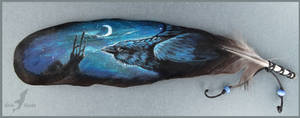 Ravens night - feather painting