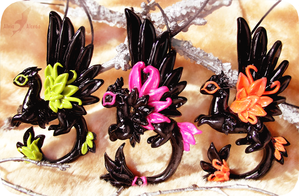Neon dragons - necklace set by AlviaAlcedo