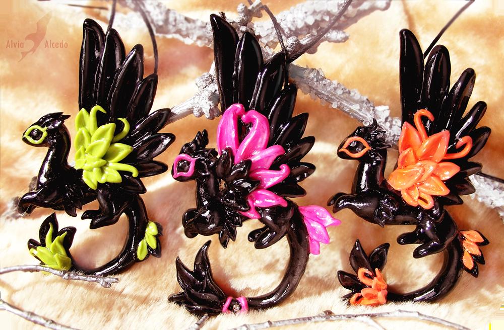 Neon dragons - necklace set by AlviaAlcedo