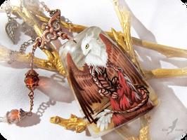 White headed dragon necklace by AlviaAlcedo