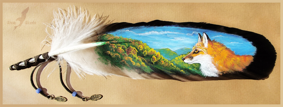 Autumnal fox - feather painting