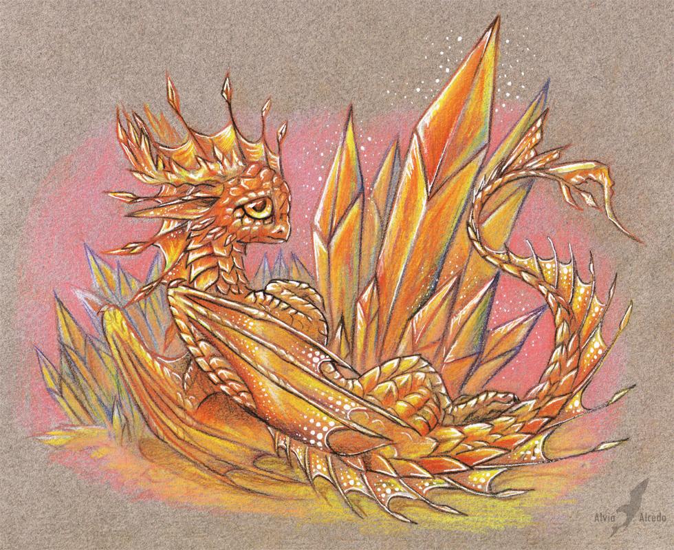Fire crystal dragon by AlviaAlcedo
