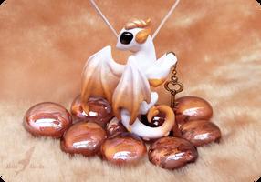 White-golden key keeper dragon necklace by AlviaAlcedo