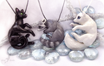 Black grey and white - animal necklaces