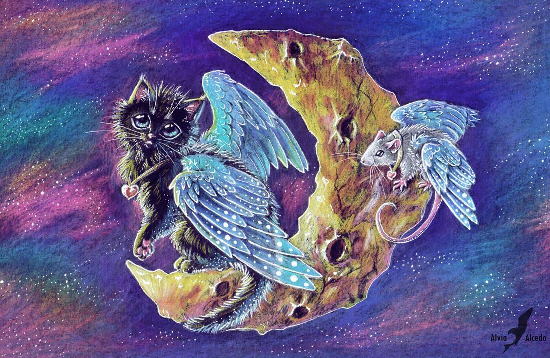 Kitty on the moon by AlviaAlcedo