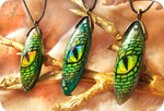 Eyes of green dragon - stone painting necklaces