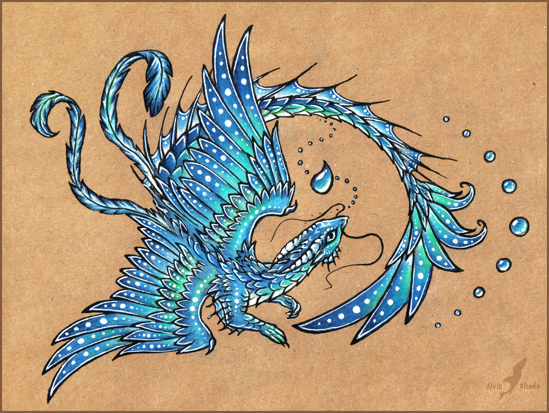 Water dragon tattoo design by alviaalcedo on deviantart for Sea dragon tattoo