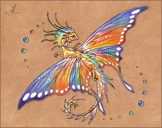 Tropical butterfly dragon -tattoo design