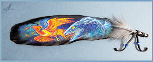Fawkes fighting basilisk - feather painting