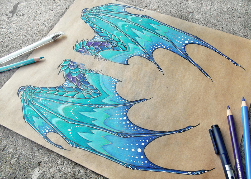 how to draw cool dragon wings