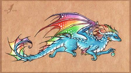 Rainbow in the sky - dragon by AlviaAlcedo
