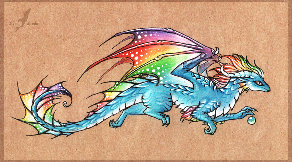 Rainbow in the sky - dragon by AlviaAlcedo