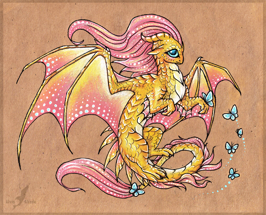 Fluttershy dragon by AlviaAlcedo
