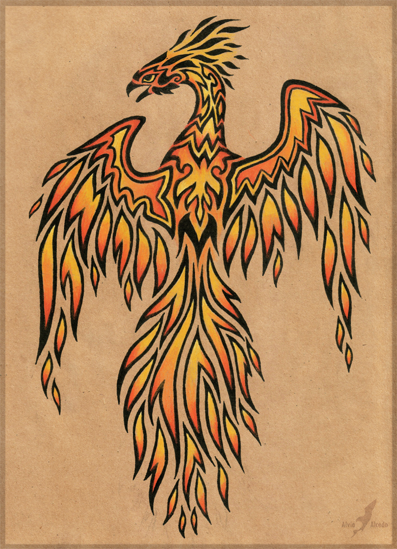 Flame phoenix - tattoo design by AlviaAlcedo