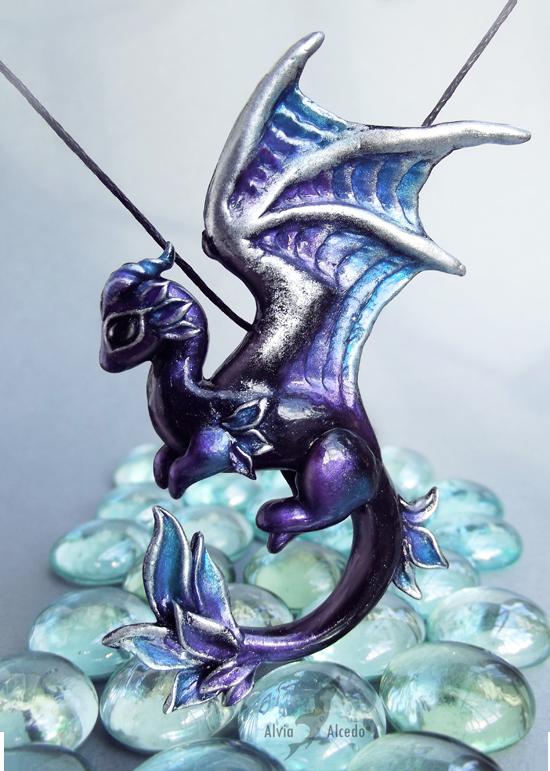 Shadow moon dragon  necklace by AlviaAlcedo