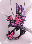 Pink spotted dragon necklace