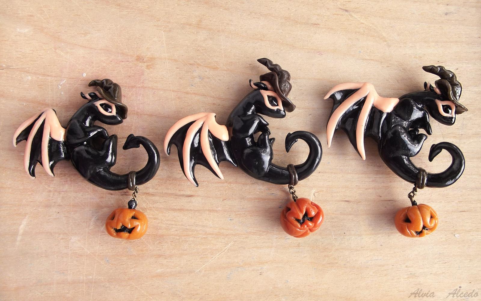 Halloween dragons trio by AlviaAlcedo