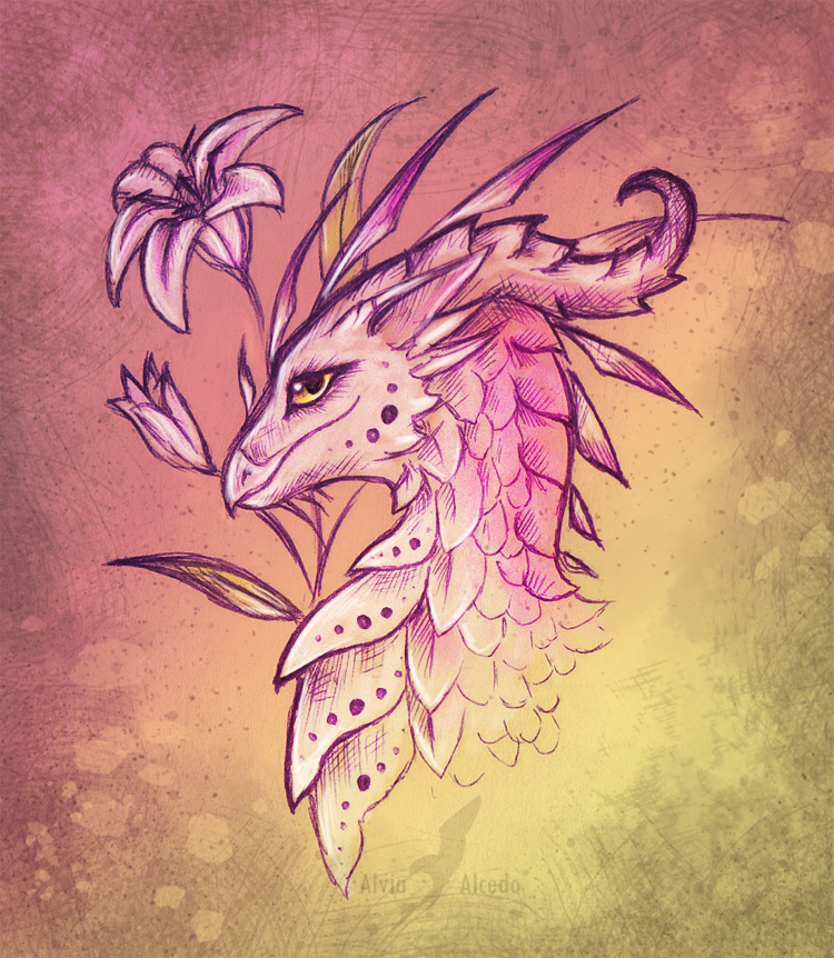 lily dragon design by alviaalcedo on deviantart