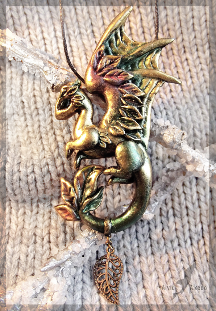 Dragon of Golden Autumn - necklace by AlviaAlcedo