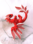 Red coral dragon necklace