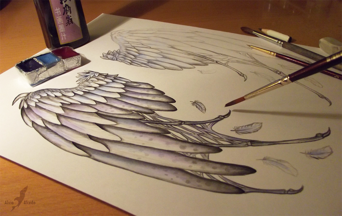 Fallen angel's wings - Work in progress by AlviaAlcedo on
