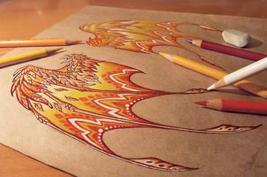 Fire dragon's wings - work in progress by AlviaAlcedo