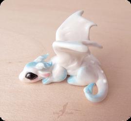 White snow baby dragon  miniature by AlviaAlcedo