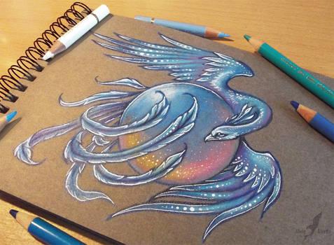 Ice phoenix - tattoo design