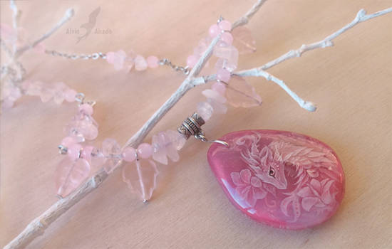 Pink flower dragoness - stone painting necklace
