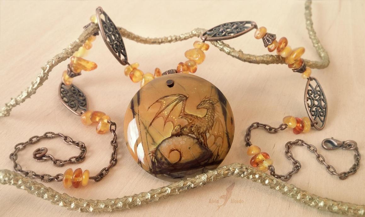 Stone painting - Dragon on swamp by AlviaAlcedo
